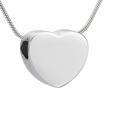 Cremation Memorial keepsake,Silver Heart Pendant and Necklace for Ashes.