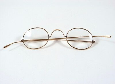 Antique Oval Gold Eyeglasses Spectacles Scoop Temples Scroll Bridge ~1880s