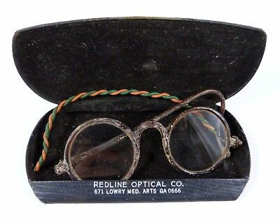 Antique Round Brown Celluloid Eyeglasses with Case - repaired
