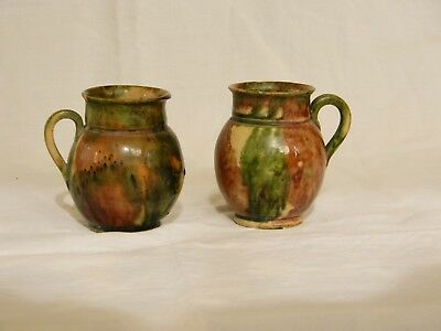 Pair Antique Folk Art Multi Glazed Pottery Miniature Jugs / Cups NR