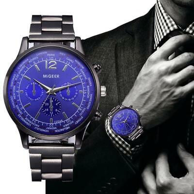 Men's Luxury Fashion Crystal Stainless Steel Analog Quartz Wrist Watch Watches