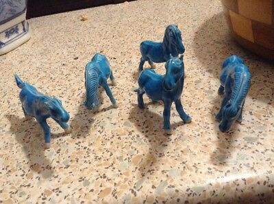 Old Oriental Blue China Horses Very Collectable From Granddads
