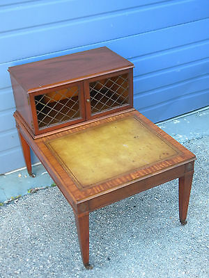Leather Top Nightstand Side End Lamp Table by Heritage Henredon 6462