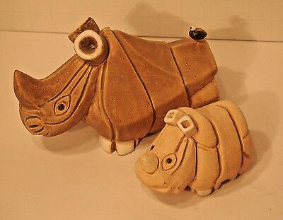 unique  hand crafted ceramic mother & baby rhinocerous  figurines