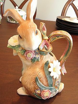 Fitz And Floyd Woodland Spring Bunny Water Pitcher 12 3/8""