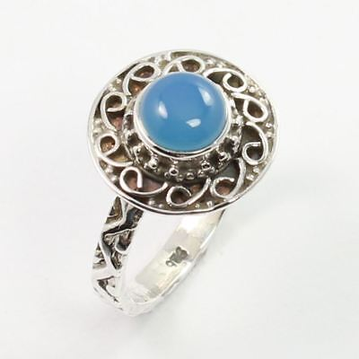 Real BLUE CHALCEDONY Gemstone 925 Sterling Silver Handcrafted Ring Size US 6 NEW