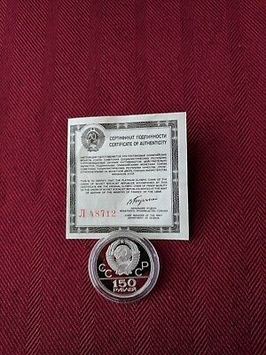 Russian Platinum 22nd Olympiad Coin in Moscow Wrestlers Proof Coin.