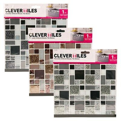 Self Adhesive Mosaic Glitter Tiles Stick On Kitchen Bathroom Clever Splash Tiles