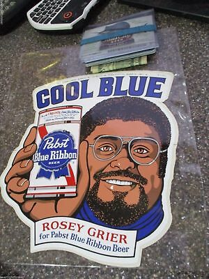VTG 70's PABST BLUE RIBBON BEER COOL BLUE ROSEY GRIER IN MOTION BAR SIGN STICKER