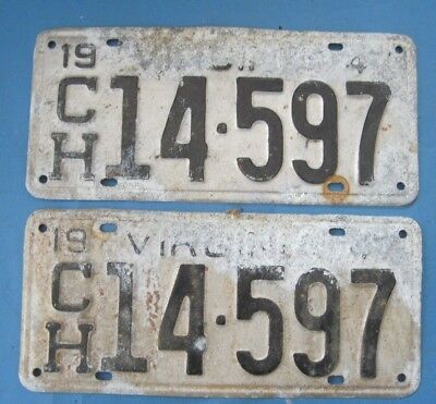 1947 Virginia License Plates Matched Pair