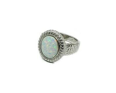 Greek Key Ring With Stunning 10X12mm Opal, Solid .925 Sterling Silver Size 7.5