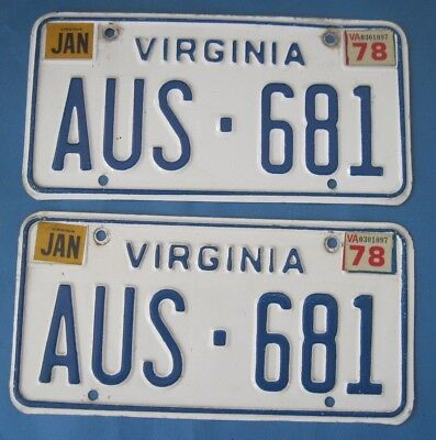 1978 Virginia license plates matched pair