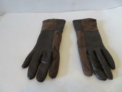 Womens Aris Dark Brown Leather & Suede Gloves Size M-L