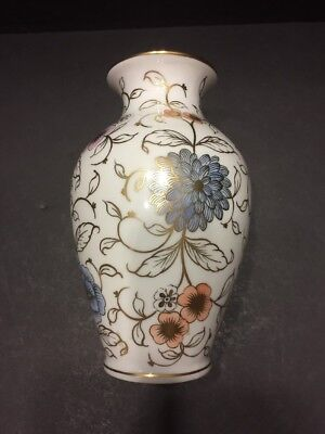 Herend Vase #7003 - Chrysanthemums  in gold with blue accents