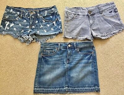 Billabong & Roxy Denim Shorts + Old Navy Denim Skirt Sz 12