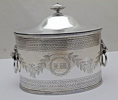 Silver Plate Antique Oval Tea Caddy with 2 Lion Head Side Handles circa 1870