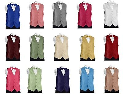 Mens Carino Fullback Patterned Formal Tuxedo Vest w/ Tie Free Priority Shipping
