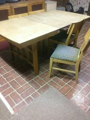 Mid century modern blonde butterfly leaf table