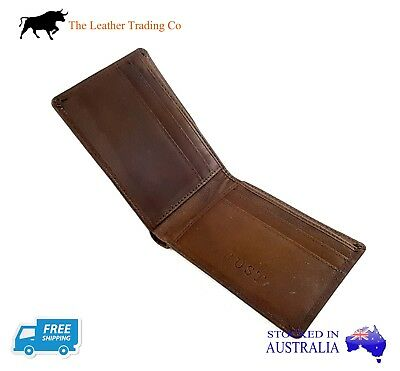 Men's Leather Wallet - Thin Double Fold - Calf Leather - Brown Slim & Practical