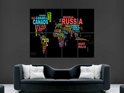 Map Of The World Poster  In Letters Words Wall Art Picture  Giant Huge