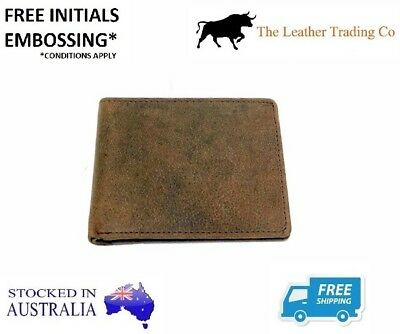 Men's Leather Wallet - Double Fold with Coin Compartment - Buffalo Leather