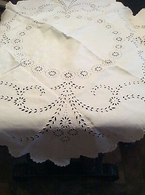 antique Irish linen large scalloped white on white emb cut work table cloth