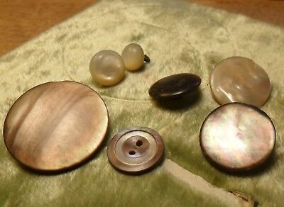 "NICE "" Lot of Smokey  Pearl Antique Button 218:2"