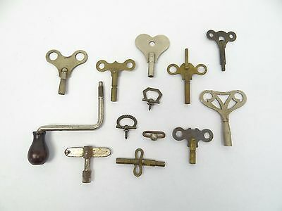 Mixed Antique & Vintage Lot Used Clock Keys Ludwig Metal Brass Steel Old