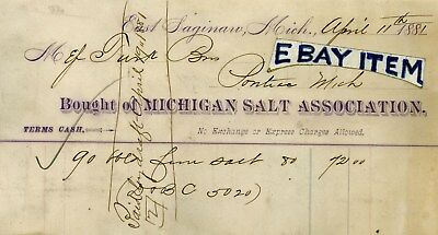 1881 BILLHEAD East Saginaw MICHIGAN SALT ASSOCIATION mining SALTY