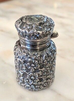 MINIATURE Embossed Floral STERLING SILVER PERFUME BOTTLE Flip Lid French?