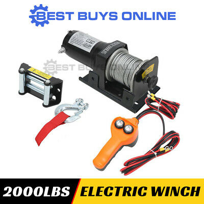 WIRELESS 12V ELECTRIC WINCH 2000 lbs 906kg Remote Control ATV Boat Steel Cable