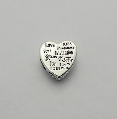 #63 New Authentic Pandora Silver Celebration Heart Bead 792060 W/Pouch & Cloth!