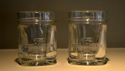 2 RED LOBSTER Mason Jar Glass heavy embossed set of 2 glasses