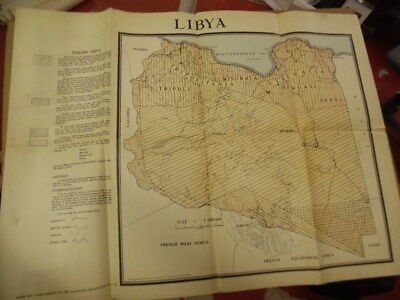 c.1935 Colonial Era Map of Italian Libya Mussolini Era North Africa Vintage