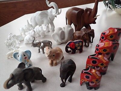Amazing Lot Of (21) Vintage/Antique Elephant Figurines from ALL OVER THE WORLD