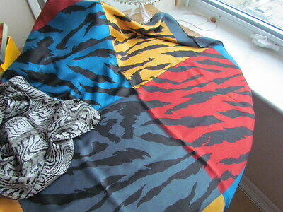 Silk Scarf Lot Animal Print Zebra Vintage Retro Elaine Gold Bill Blass Abstract