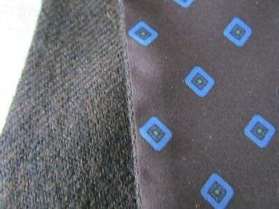 Double Layer Men Silk Wool Vintage Scarf Ascot Opera Blue Brown