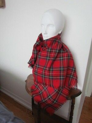 Wool Scottish Ethnic Costume Plaid Tartan Vintage Shawl Wrap Scarf Red Green new
