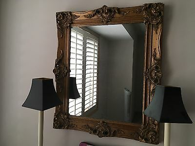"Gorgeous Vintage Authentic Gold Leaf Mirror French Style 28"" X 24"" 1950's"