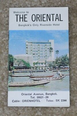 The Oriental Hotel Bangkok Thailand Riverside Brochure Map 1950s 1960s - C221