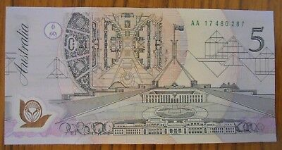 "1992 $5 Polymer Original Issue Note "" Aa Pale Green Serials "" Rare"
