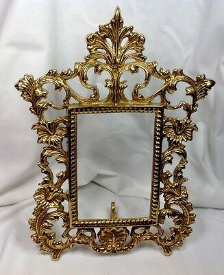 Vintage Art Nouveau Bronze Or Brass Dore Photo Mirror Easel Frame
