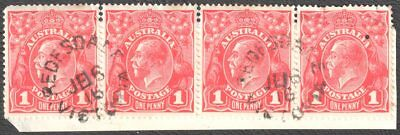 KGV 1d STRIP OF 4 - 8/51-54, FLAWS ON 3 UNITS, CDS REDESDALE, VIC 16/6/1916