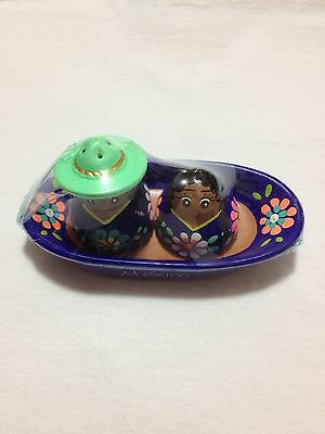 New Mexican Blue Couple Salt & Pepper Shakers Pottery/Mexican Handcraft