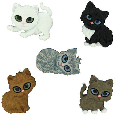 Farm Animals Craft Sewing Dress It Up Buttons *KITTEN KABOODLE* 5 Pieces Cat