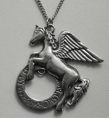 Chain Necklace #306 Pewter Pegasus Alicorn Unicorn (45mm x 42mm)