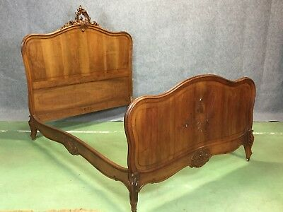 1930's Louis XV Double Walnut bed Frame Head, Foot and Rails. Check sizes.