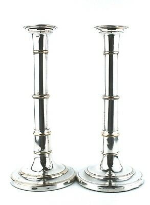 Antique 19th C. Old Sheffield Plate Telescopic Candlesticks Pair c.1830