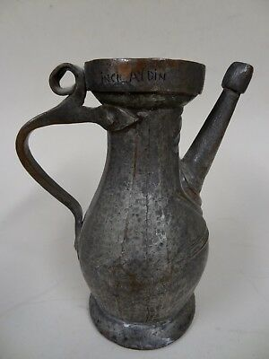 """Very Interesting Antique Plated Copper Spouted Water or Wine Jug ca 9"""" High"""