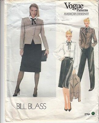 Jacket Skirt Pants Blouse Geoffrey Beene Vogue Sewing Pattern 2764 Size 10